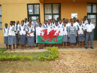 Sponsored students with Welsh flag